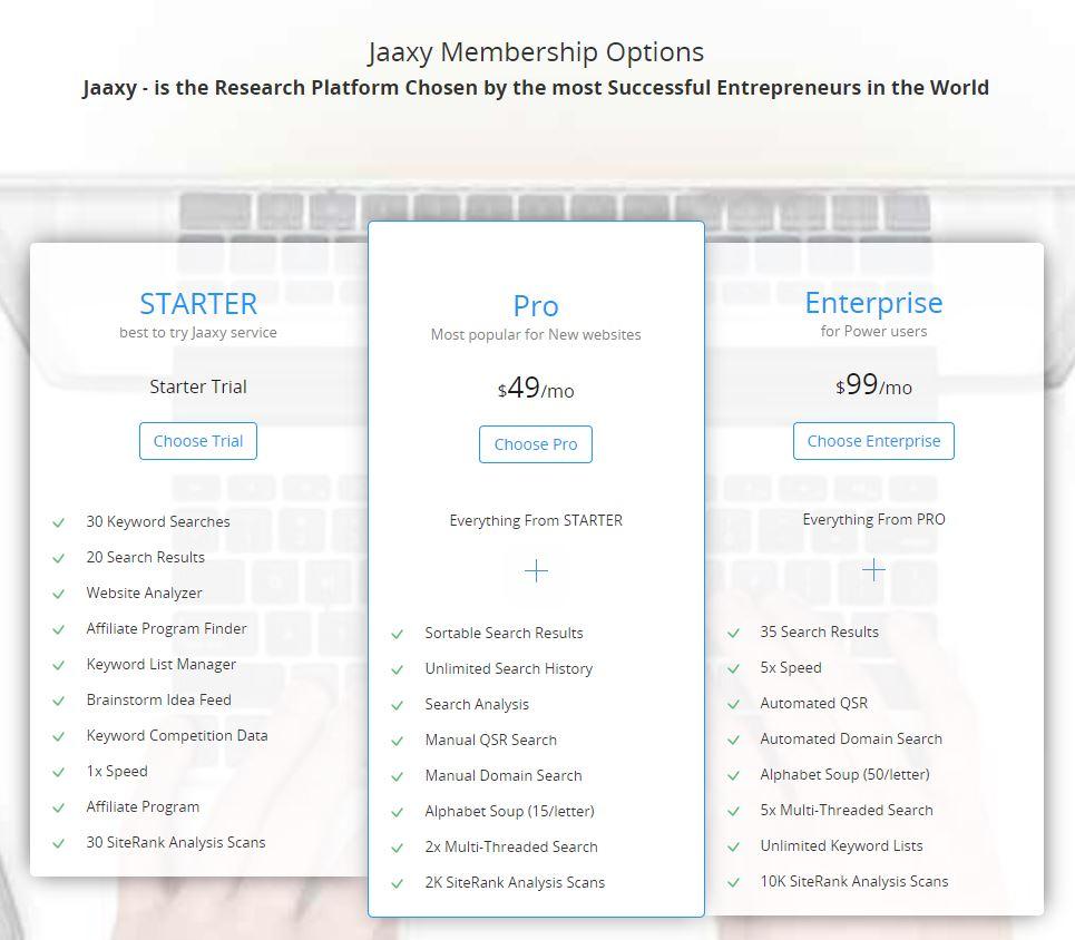 Jaaxy Mmbership options
